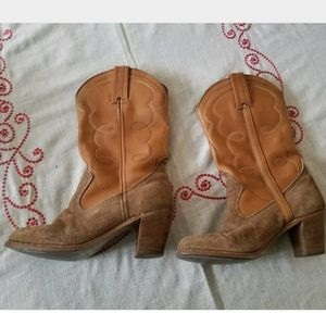 Dexter Heeled Tan/Brown Cowboy Boots Size 7 1/2N